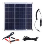 New 50W 12/5V Portable Solar Panel Dual USB For Car RV Battery Charge
