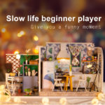 New iiecreate H-002 Leisure Life DIY Dollhouse With Music Cover Light Wooden Doll House Gift Decor Collection Beginner Player