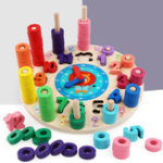 New Wood Blocks Puzzle Board Set Wooden Toy 12 Numbers Clock Toy for Preschool Kid Learning Educational Toys for Number Counting Colors Stacking