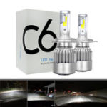 New 2pcs 12V/24V C6 LED Bulb H1/H4/H7/H11/9005/9006 White Headlights 72W 7200Lm COB Headlamp Auto Fog Light Lamp Bulb