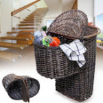 New Wicker Handwoven Stair Step Storage Box Basket Baskets Container Carry With Handle