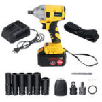 New 168F 19800mAh 110V-240V Electric Brushless Impact Wrench LED Lights with Battery