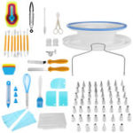 New 118 PCS Cake Decorating Tools Set DIY Cake Piping Tips Turntable Rotating Cake Stand Pastry Nozzle Baking Tools