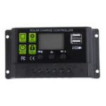 New PWM 10A 12V/24V Auto Solar Panel Solar Charge Controller Battery Charge Adapter LCD USB
