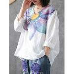 New Women Casual Floral Print  V-Neck Long Sleeve Blouse