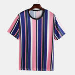 New Men Vertical Stripe Short Sleeve O-Neck T-Shirts
