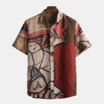 New Mens Summer Abstract Printed 100% Cotton Short Sleeve Shirts