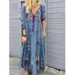 New Casual Patchwork V Neck Floral Embroidery Maxi Dress