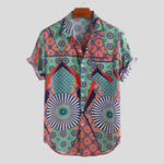 New Mens Ethnic Style Pattern Printed Short Sleeve Loose Shirts
