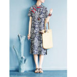 New Women Vintage Printed Short Sleeve Split Hem Dress