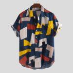 New Men Summer Hit Color Printed Chest Pocket Loose Color Shirts