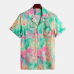 New Men Tie Dye Art Graffiti Print Dual Pockets Revere Shirts
