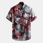 New Mens Vintage Pattern Printing Short Sleeve Henley Shirts