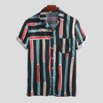 New Mens Summer Fashion Stripe Printer Pocket Casual Shirts