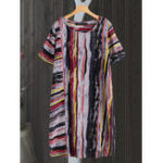 New Women Casual Short Sleeve O-neck Stripe Dress