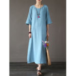 New Women Pure Color O-Neck Side Pockets Half Sleeve Dress