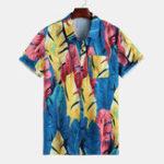 New Men Tropical Plants Print Short Sleeve Hawaiian Shirts
