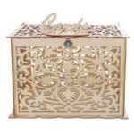 New Wooden Wedding Card Post Box with Lock Collection Gift Card Boxes Weddings Decor Supplies