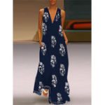 New Bohemian Women V Neck Floral Print Sleeveless Maxi Dress