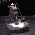 New Dragon Fish Backflow Tower Burner Holder Ceramic With 10Pcs Cone Incense Decor