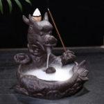 New Dragon Fish Backflow Tower Burner Holder Ceramic With 10Pcs Cone Incense Decor