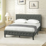 New Upholstered Platform Bed Wooden Slat Support Tufted Headboard Footboard Double Bed