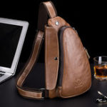 New Bullcaptain Men Chest Bag Genuine Leather Sling Bag