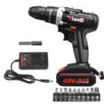 New 48V Cordless Electric Impact Drill Rechargeable Drill Screwdriver W/ 1 or 2 Li-ion Battery