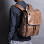 New Men Solid Casual USB Charging Flap Multifunction Backpack
