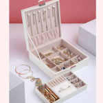 New Flannel Square Jewelry Box Simple Layout 2 Layers Makeup Organizer Choker Ring Necklace Storage Box