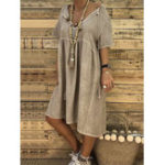 New Women Solid Color Cotton Loose V-Neck Short Sleeve Dress