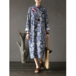 New Women Floral Printed Stand Collar Long Sleeve Dress