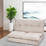 New Adjustable Fabric Folding Chaise Lounge Sofa Chair Floor Couch Folding Adjustable Sleeper Chaise Lounge Recliner For Living Room Lazy Sofa- (Beige)