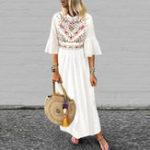 New Women 3/4 Sleeve Bohemian Long Maxi Retro Floral Dress