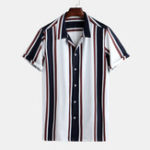 New Mens Fashion Patchwork Big Stripe Breathable Casual Shirts