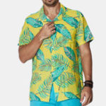 New Men Neon Palm Print Short Sleeve Hawaiian Shirts