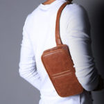 New Ekphero  Men Casual Multifunction Solid Chest Crossbody Bag
