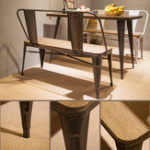 New TREXM Rustic Vintage Style Distressed Dining Table Bench with Wooden Seat Panel and Metal Backrest And Legs
