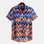 New Men Colorful Chevron Print Short Sleeve Henry Shirts