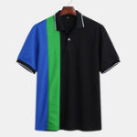 New Mens Summer Color Block Turn Down Collar Casual Golf Shirt