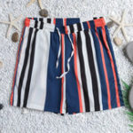New Men Colorful Stripe Drawstring Hawaiian Board Shorts