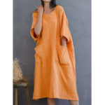 New Women Loose Cotton Solid Color Pocket Casual Dress