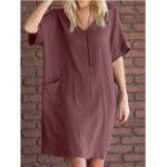 New Pure Color V-neck Short Sleeve Casual Mini Dress