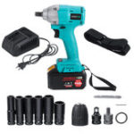 New 168F 19800mAh 110V-240V Electric Brushless Impact Wrench LED Lights with Battery Blue