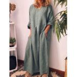 New Women Solid Color Adjustable Sleeve Split Hem Dress