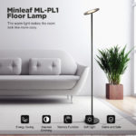 New Minleaf ML-PL1 Super Bright Floor Lamp – Tall Standing Modern Pole Light for Living Rooms & Offices – Dimmable Uplight for Reading Books in Your Bedroom