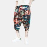 New Men Vintage Chinese Style Ethnic Pattern Cropped Harem Pants