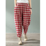 New Women Casual Plaid Elastic Waist Side Pockets Harlan Pants