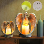 New Resin Electronic Angel Candle Holder Feather Wings Memorial Ornaments Light Decorations