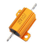 New 5pcs RX24 25W 1R 1RJ Metal Aluminum Case High Power Resistor Golden Metal Shell Case Heatsink Resistance Resistor